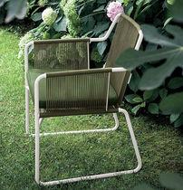 Moderner Stuhl / mit Armlehnen / Kufen / Edelstahl