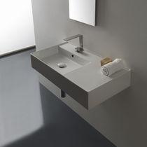 Wand-Waschbecken / rechteckig / modern / mit integrierter Waschtischplatte