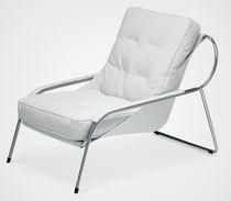 Moderner Sessel / Leder / Edelstahl / mit Fußstütze
