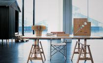 Moderner Arbeitstisch / aus Buche / Hartglas / Laminat
