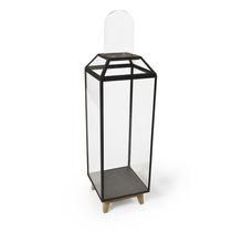 Moderne Vitrine / mit Fußgestell / aus Eiche / Glas