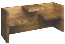 Moderne Bank- und Tischgarnitur / Massivholz / Aluminium / Beton