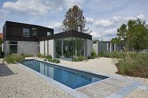 Teileingebautes Schwimmbecken / Mineralstein / für Außenbereich
