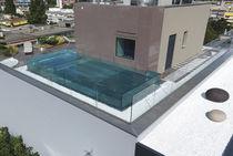 Teileingebautes Schwimmbecken / Glas / Edelstahl / für Hotels