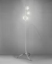 Stehleuchte / modern / verchromtes Metall / Glas