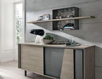 Wandmontiertes Regal / modern / gestrichenes Metall / Laminat