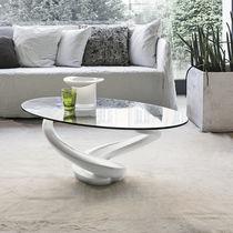 Moderner Couchtisch / Glas / Hartglas / oval
