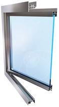 Vertikalschiebefenster / aus Edelstahl / Wärmedämmungen / für Geschäftsgebäude