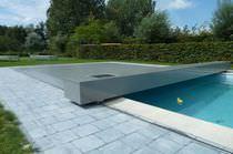 Flache Schwimmbadüberdachung / aus Aluminium / motorisiert
