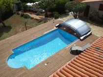 Nedriege Schwimmbadüberdachung / Aluminium / motorisiert