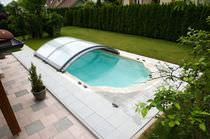 Nedriege Schwimmbadüberdachung / zum Schieben / Aluminium / mit manueller Bedienung