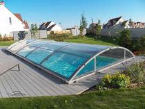 Nedriege Schwimmbadüberdachung / Schiebe / Aluminium / mit manueller Bedienung