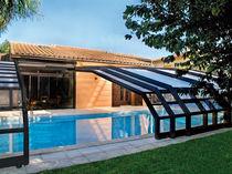 Schwimmbadüberdachung für Wandmontage / zum Schieben / Holz / mit manueller Bedienung