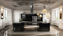 Moderne Küche / Edelstahl / Holz / Kochinsel