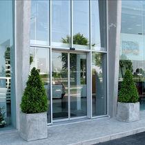 Eingangstür / zum Schieben / Glas / aus Aluminium