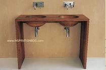 Doppelter Waschtischunterschrank / freistehend / Holz / modern - 8 ... | {Waschtischunterschrank freistehend 76}