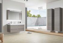 Doppelter Waschtischunterschrank / hängend / Holz / modern ... | {Waschtischunterschrank holz hängend 120 81}