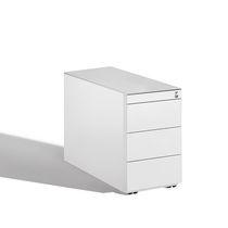 Stahl-Büroschubladenschrank / Holz / Glas / 4-Schubladen