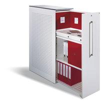 Niedriger Aktenschrank / Holzfurnier / Stahl / Glas