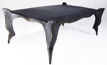 Neobarock-Tisch / aus Eiche / patiniertes Metall / rechteckig
