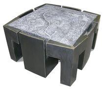 Tisch- und Stuhlkombination / originelles Design / aus Metall / aus Kunststein / für Innenbereich