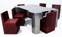 Tisch- und Stuhlkombination / originelles Design / aus Stahl / Edelstahl / für Innen