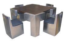 Tisch- und Stuhlkombination / originelles Design / Holz / Edelstahl / für Innen