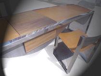 Holz-Schreibtisch / aus Edelstahl / Leder / modern