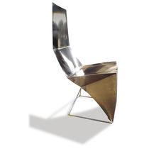 Stuhl / originelles Design / Leder / aus Edelstahl / Hochlehner