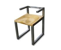 Designer Stuhl / aus Massivholz / aus Edelstahl / Contract