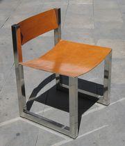 Moderner Stuhl / Leder / aus Metall / Contract