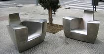 Clubsessel / originelles Design / aus Edelstahl / Garten