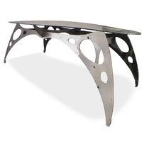 Designtisch / originell / Glas / aus Metall / oval