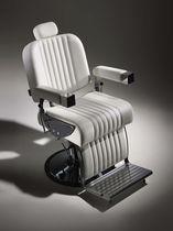 Kunstleder-Barbiersessel / verchromtes Metall / zentrales Fußgestell / Kopfstütze