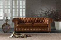 Konvertibles Sofa / Chesterfield / Leder / 2 Plätze