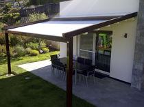 Angebaute Pergola / Aluminium / Stoff-Faltdach / nach Maß