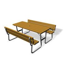 Klassischer Picknicktisch / Holz / rechteckig / öffentliche Bereiche