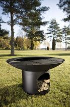 Holzkohle-Gartengrill / Holz / mit Fußgestell / Stahl