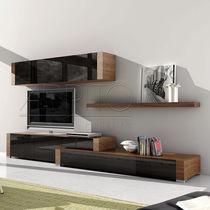 Moderne Wohnwand / Holz / Glas