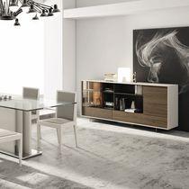Modernes Sideboard / Holz / lackiertes Holz / Glas