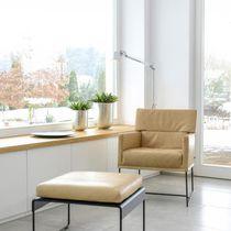 Moderner Sessel / Leder / Kufen / mit Armlehnen
