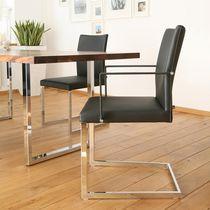 Moderner Besucherstuhl / Polster / mit Armlehnen / mit Überhang