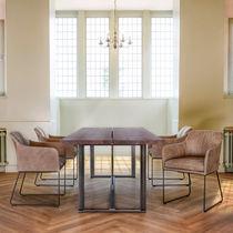 Moderner Esstisch / Holz / Stahl / rechteckig