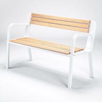 Parkbank / klassisch / aus Eiche / Stahl