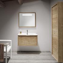 Doppelter Waschtischunterschrank / hängend / Holz / modern - 120 ... | {Waschtischunterschrank holz hängend 120 98}