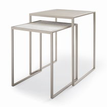 Moderner Satztisch / Leder / Macassar-Ebenholz / gebürsteter Edelstahl