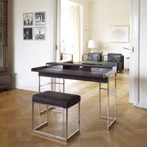 Edelstahl-Schreibtisch / Leder / modern