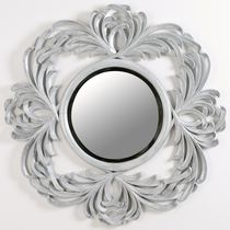 Wandmontierter Spiegel für Badezimmer / Stil / rund / silberfarben
