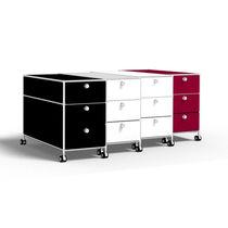 Stahl-Büroschubladenschrank / Glas / 3-Schubladen / 2 Schubladen
