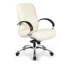 Moderner Sessel für Büro / Leder / höhenverstellbar / mit Armlehnen